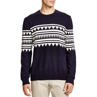 Bloomingdales Mens 2-Ply Cashmere Jacquard Pattern Crewneck Sweater Medium Navy