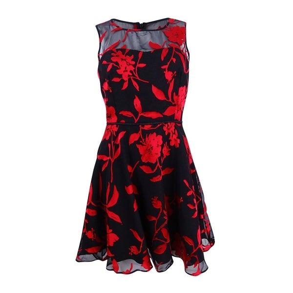 a3ccab608fcd9 Tahari ASL Women's Velvet Burnout Fit & Flare Dress (4P,  Black/Claret/Silver) - Black/Claret/Silver - 4P
