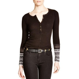 Free People Womens Ski Lodge Henley Top Thermal Crochet Trim