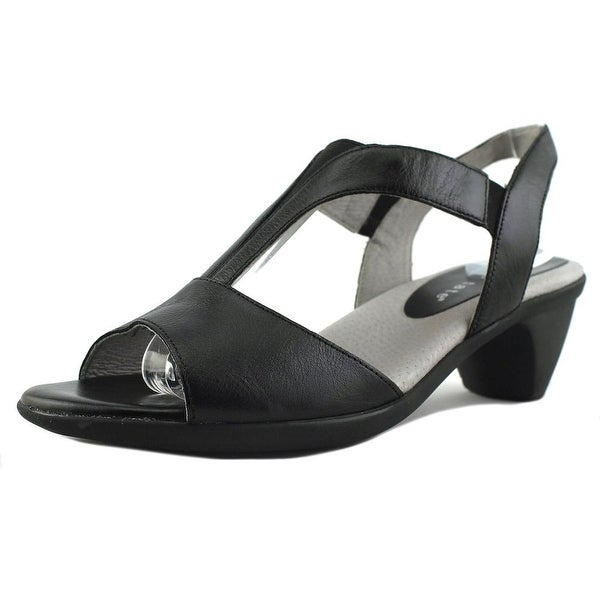 David Tate Accord Women W Open-Toe Leather Black Slingback Sandal