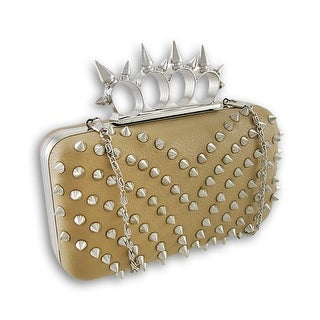 Spiked Knuckle Duster Clutch Purse - Beige