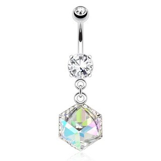 Cube Prism Gem Encased by Paved Gems Dangle 316L Surgical Steel Navel Belly Button Ring