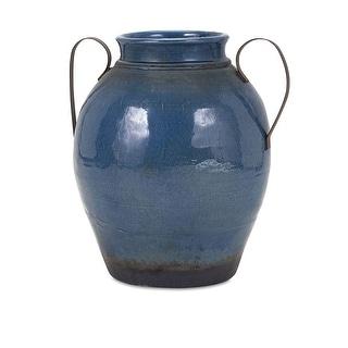 IMAX Home 13610  Harrisburg Large Terracotta Vase - Blue