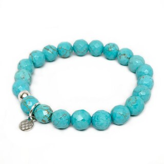 """Turquoise Magnesite Lucy 7"""" Sterling Silver Stretch Bracelet"""