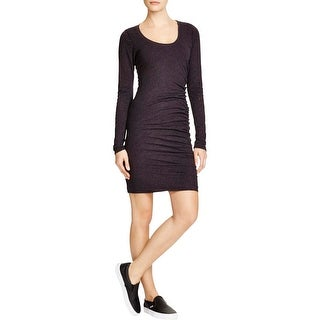 Velvet Womens Shirtdress Ruched Long Sleeves