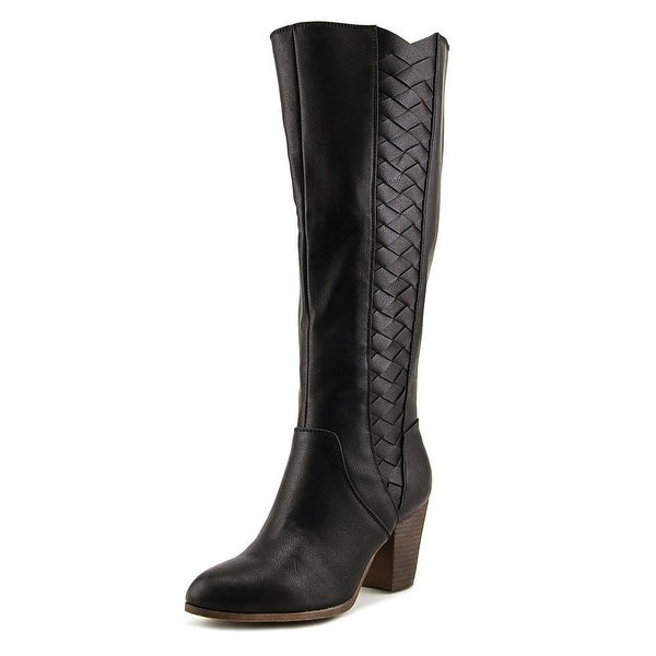 Fergalicious Cally Women Round Toe Leather Black Knee High Boot