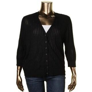 Lauren Ralph Lauren Womens Plus Cardigan Sweater Pointelle V-Neck - 2x