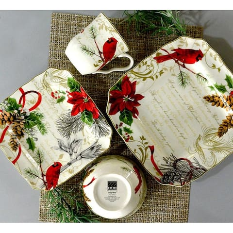 222 Fifth Holiday Wishes 16 Piece Dinnerware Set, Service for 4