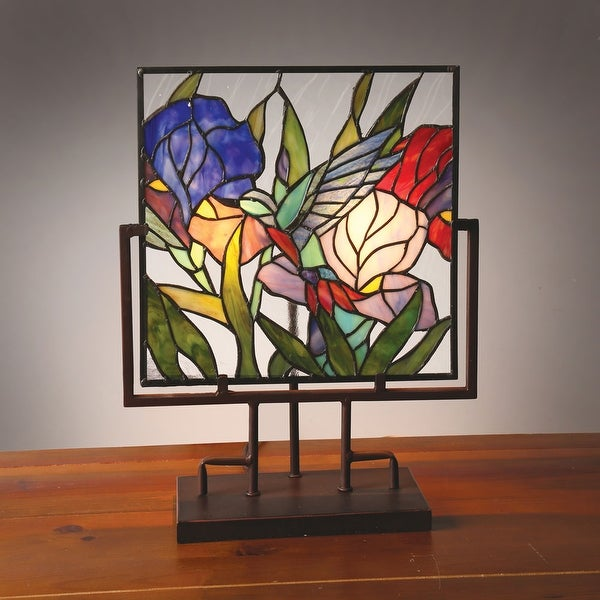 Lighted Stained Glass Panel - Hummingbird In Tulips