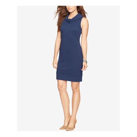 AMERICAN LIVING Womens Navy Textured Sleeveless Turtle Neck Above The Knee Sheath Wear To Work Dress Size: 10