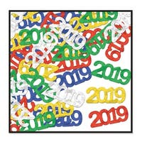 "Pack of 12 Multi-Color Fanci-Fetti ""2019"" New Year's Silhouettes Party Decorations - Blue"