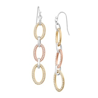Triple Oval Drop Earrings with Cubic Zirconia in 18K Two-Tone Gold-Plated Sterling Silver - White