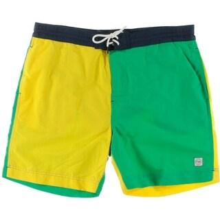 Tommy Hilfiger Mens Colorblock Lined Swim Trunks