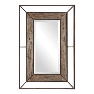 """47"""" Wood and Metal Rectangle Hanging Wall Mirror"""