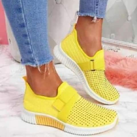 Shiny Rhinestone Slip On Sneakers