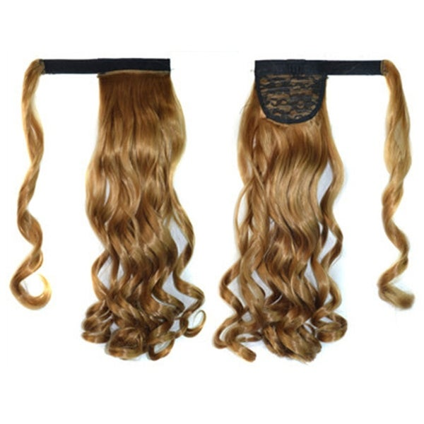 Shop Magic Tape Long Curled Hair Extension Wig Khaki K06 27 Free