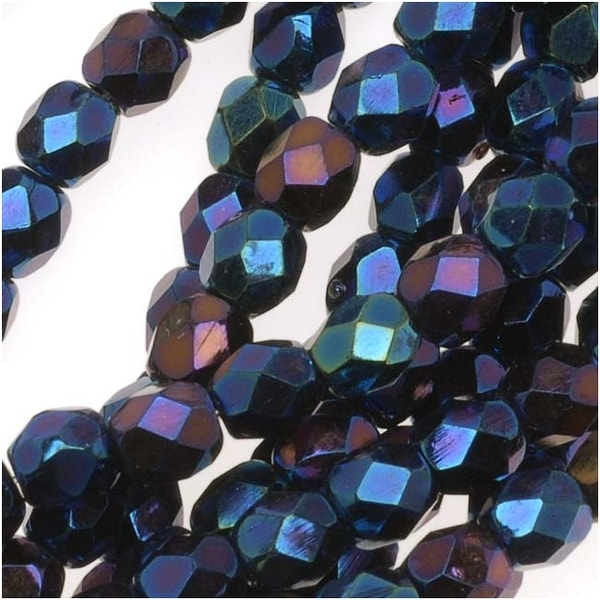 Czech Fire Polished Glass Beads 4mm Round Blue Iris (50)