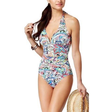 Ralph Lauren Cabana Paisley Tummy Control Halter One-Piece Swimsuit 14 Multi