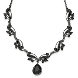 Black IP Austrian Crystal Elements & Crystal Fancy Necklace - 16in