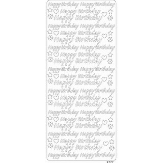 Papicolor Peel Off Gem Stickers 100X255mm-Happy Birthday Silver