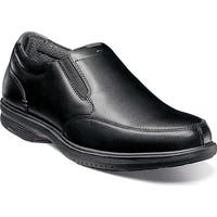 Nunn Bush Men's Myles St. Moc Toe Slip On Black Leather