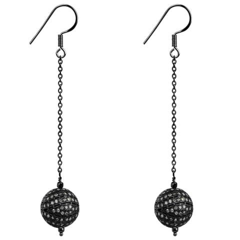 Diamond Sterling Silver Round Dangle Earrings by Diacrown