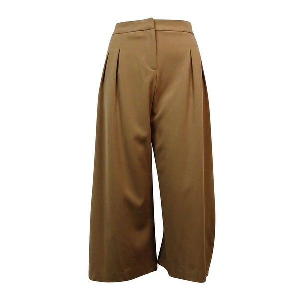 NY Collection Women's Woven Gaucho Pleated Pants
