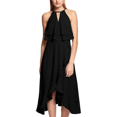 Kensie Womens Halter Dress Ruffled Cocktail