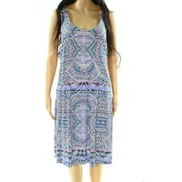 Tart Blue Green Womens Size 2X Plus Printed Stretch A-Line Dress