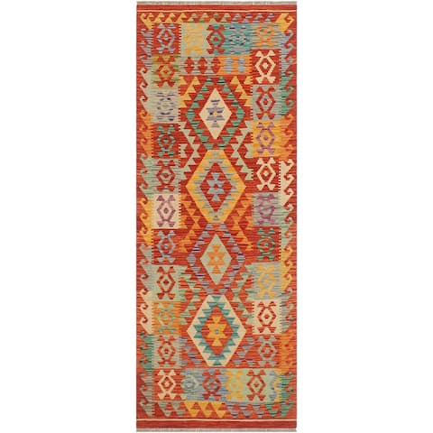 """Abstract Kilim Isabella Rust Blue Hand Woven Rug - 2'7"""" x 6'5"""" - 2'7"""" x 6'5"""""""