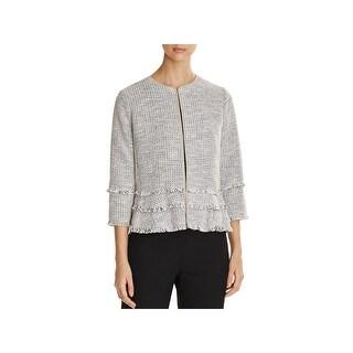T Tahari Womens Madeline Jacket Woven 3/4 Sleeves