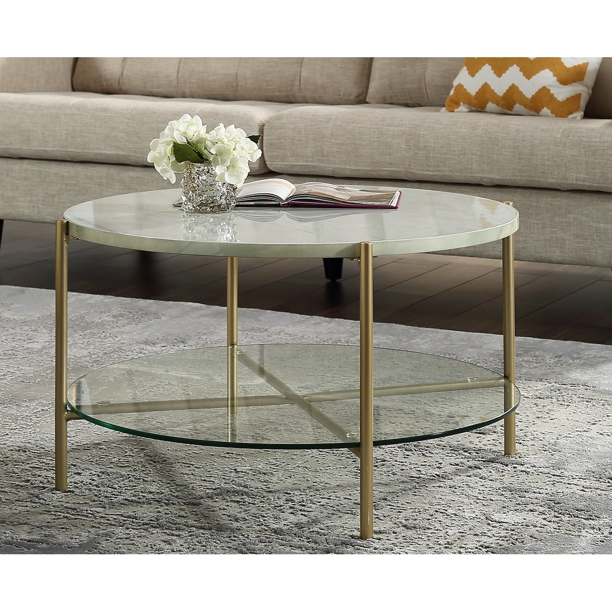 Silver Orchid Howell Faux Marble Round Coffee Table Overstock 22536520