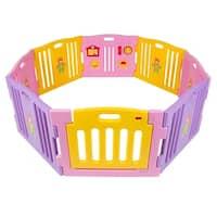 Kidzone Baby Playpen Kids 8 Panel Safety Play Center Yard Home Indoor / Outdoor Girls (Pink)