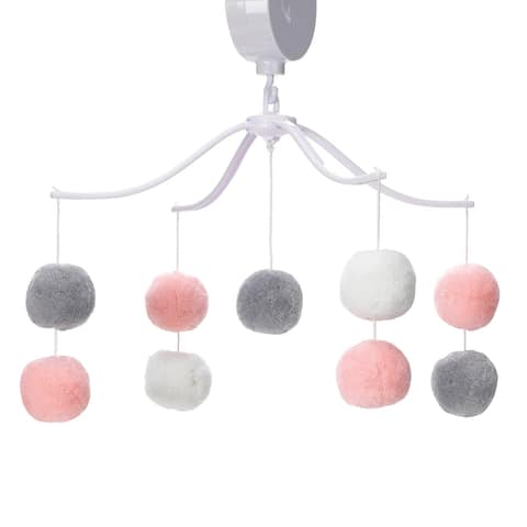 Bedtime Originals Blossom Pink/Gray Pom Pom Musical Baby Crib Mobile Soother Toy