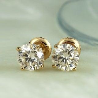 Link to Auriya 1 carat TW Round Moissanite Stud Earrings 14k Gold 4-Prong Basket - 5 mm Similar Items in Earrings