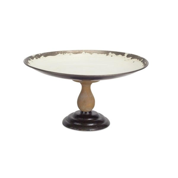 Swell 7 White And Brown Weathered Metal Serving Tray On Wood Pedestal Interior Design Ideas Gentotryabchikinfo
