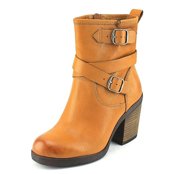 Lucky Brand Orenzo Women Round Toe Leather Tan Ankle Boot