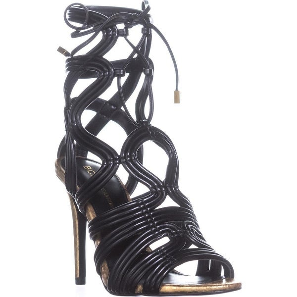 BCBGeneration Jax Heeled Sandals, Metallic Nappa Carbone