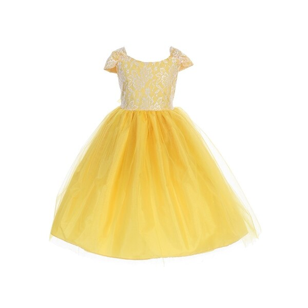 c9168cb40 Shop Little Girls Yellow Cape Sleeves Lace Taffeta Tulle Flower Girl Dress  - Free Shipping On Orders Over $45 - Overstock - 26458500