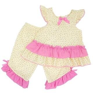 Laura Dare Little Girls Yellow Pink Floral Print Trim 2 Pc Pajama Set