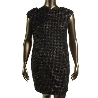 Alex Evenings Womens Petites Metallic Houndstooth Cocktail Dress - 16p