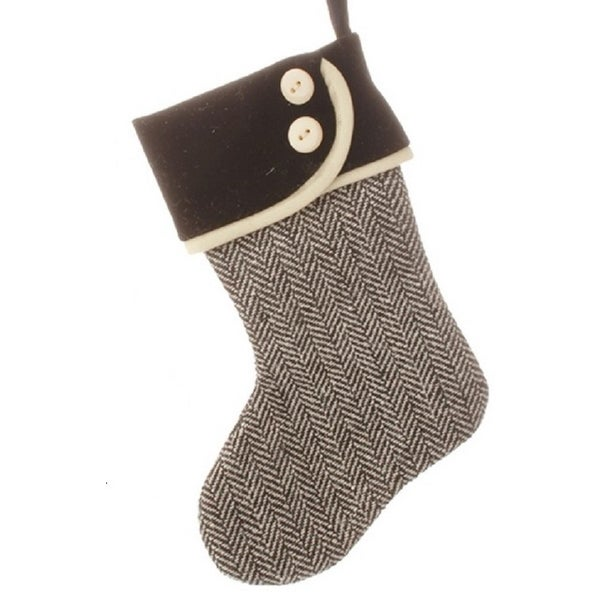 "7"" Alpine Chic Jet Black and Ivory Mini Stocking Christmas Ornament"