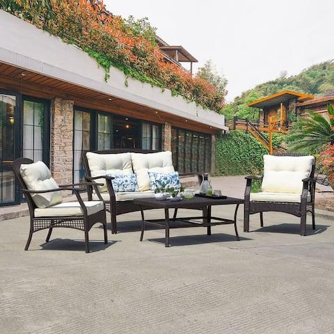 Outdoor Furniture Beige 6-Piece Patio Conversation Set