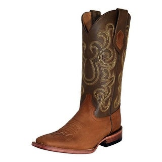 Ferrini Western Boots Women Leather Square Toe Cushioned Cafe 82293-03