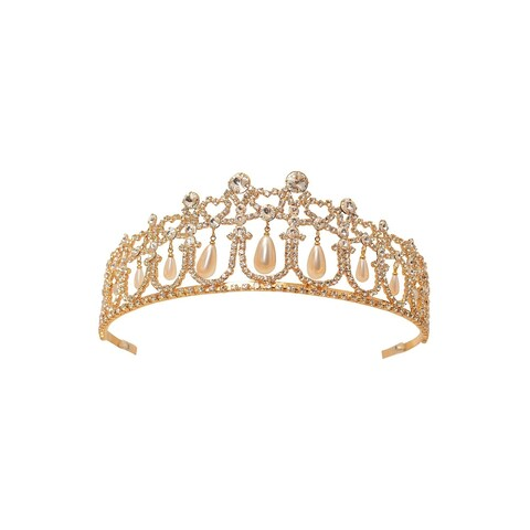 Women Gold Rhinestone Dangling Pearls Tiara