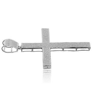 3.5inch Tall Diamond Cross Mens Charm 2.00ctw Diamonds Pave Setting (i2/i3, I/j) By MidwestJewellery - White