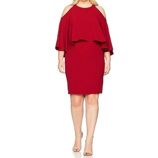 Adrianna Papell Red Women 18W Plus Cold Shoulder Sheath Dress