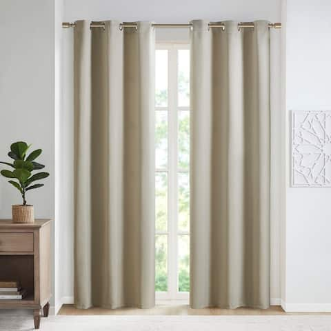 SunSmart Brent Solid Blackout Triple Weave Grommet Top Curtain Panel Pair