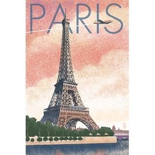 Paris, France - Eiffel Tower & River - Lithograph Style- Lantern Press Artwork (Acrylic Wall Clock)