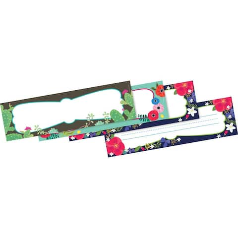 """Petals & Prickles Double-Sided Name Plates, 12"""" x 3-1/2"""", 36 Per Pack, 3 Packs - One Size"""